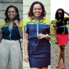 """WhoMadeYourClothes? #LoveStories from my closet.  You know if you think about it our clothes connect us to memories  places and events. Take for instance this shirt by Ghanaian designer @christiebrowngh  Let's call her #Henri as she has that personality about her.  I bought """"Henri"""" off the rack at the designers' studio May 2013 in Accra. I was in Ghana to interview the desigber for the brand Aisha Obuobi who's earned a name for her stylish mixed prints ensuring almost zero waste.  This…"""