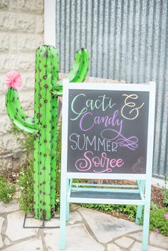 Cactus welcome Sign from a Cactus & Candy Summer Soiree on Kara's Party Ideas | KarasPartyIdeas.com
