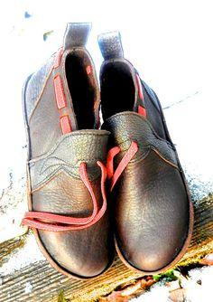 "Handmade chocolate bullhide Leather Shoes - ""NO SHOES"" Lightweight Vibram Sole shrunken grain sheepskin Trim - Custom Made or stock size"