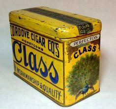 Stunning Early 1900s Antique vtg CLASS Cigar Tin Advertising Box PEACOCK Cordove
