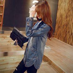 2015 году новое падение моды в корейской версии тонкие длинные джинсовая куртка длинными рукавами женщин случайных деним двубортные пальто женщин из категории Женские летние куртки: цена, фото, отзывы, доставка – купить в интернет-магазине Купинатао