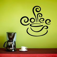 Coffee Wall Decal - Kitchen Decal - Coffee Cup with Steam Vinyl Wall Sticker