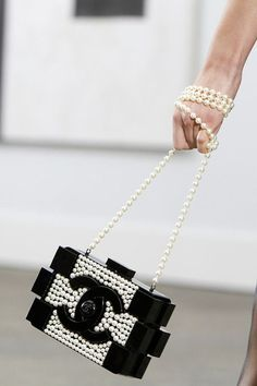 Chanel Boy Bag In Black & White Pearls