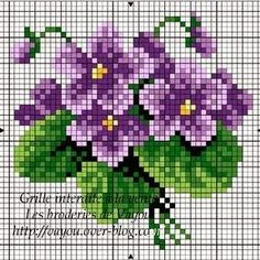 """Lovely heart things: Waiting for Spring """"Violets"""" (collection schemes) Mini Cross Stitch, Cross Stitch Needles, Simple Cross Stitch, Cross Stitch Cards, Cross Stitch Rose, Cross Stitch Flowers, Cross Stitching, Cross Stitch Embroidery, Loom Patterns"""