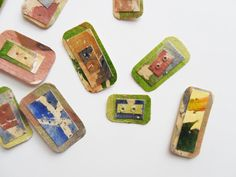 Paper Buttons. Rectangle hand painted by UselessPaper on Etsy