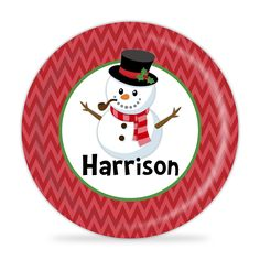 Winter Snowman Plate - Christmas Snowman Melamine Personalized Plate. 1 Personalized Melamine Plate - makes a Great Kids Gift ~ I Design and Customize, You Give the Perfect Gift! ~ These Personalized Plates are a perfect way to spice up every meal time! Your little one will always enjoy seeing their name on their plate. Watch your Child light up, when they see their plate coming! This will become the new go-to for meal time! This is perfect for all ages and makes a great present for any...