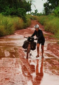 Kate Leeming cycling through Africa: http://cycletraveller.com.au/australia/world-first-kate-leeming-cycles-to-the-horn-of-africa