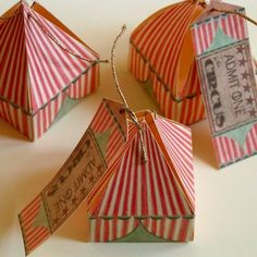 Circus tent gift boxes - how about a circus theme? Circus Birthday, Circus Theme, Circus Party, Circus Tents, Circus Wedding, Night Circus, Ideias Diy, Festa Party, Paper Crafts