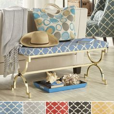 INSPIRE Q Eleanor Moroccan Print Pattern Gold Plated Bench - Overstock Shopping - Great Deals on INSPIRE Q Benches