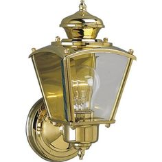 Progress Lighting P5606-10 Wall Lantern with Clear Beveled Glass Panels, Polished Brass by Progress Lighting. $51.99. From the Manufacturer                Traditional carriage lantern style with clear, beveled glass panels. BrassGUARD fixtures feature a proprietary lacquer finish proven to extend the life and finish of solid brass fixtures. Wall lantern with clear beveled glass panels. Uses (1) 60-Watt medium base bulb 5-1/2-Inch Width by 10-3/4-Inch Height         ...