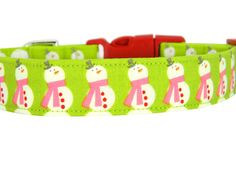 Christmas Snowman Dog Collar Pink Snowman Dog by PawshAccessories