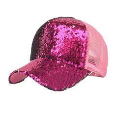 61e4f000dc8ea Women summer ponytail baseball cap patchwork sequins shiny messy bun  snapback hat sun caps dropshipping d30