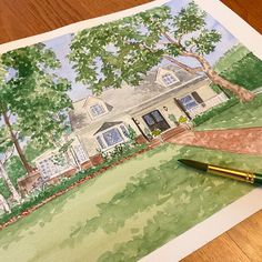 Hand painted watercolor house portraits. Realtor gift. Anniversary gift. First Home Gifts, New Home Gifts, House Illustration, Realtor Gifts, House Drawing, Watercolor Artwork, Home Pictures, That Way, Custom Homes