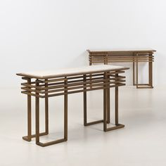 James Mont; Beech and Travertine Console Tables, 1950s.