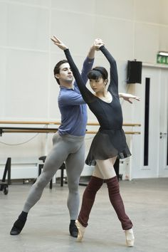 Tristan Dyer and Akane Takada in rehearsal for Christopher Wheeldon's Within the Golden Hour, The Royal Ballet Season 2015/16 www.roh.org.uk/productions/within-the-golden-hour-by-chri...