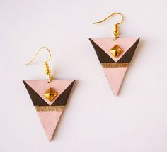 Pink and dark green earrings made from recycled leather - upcycling - Triangle earrings with surgical steel gold plated by Adorness www.adornessjewelry.etsy.com
