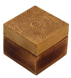 """Bulk Wholesale Hand-Carved 2.5"""" Square Wooden Jewelry Box / Trinket Box Enhanced with Brass-Sheet & Cone-Painting Art in Golden & Natural Wood Color – Antique-Look Boxes from India"""