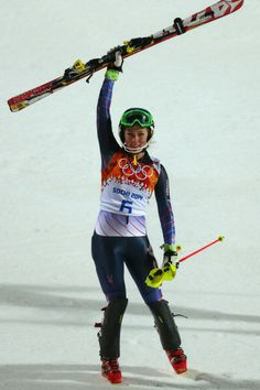Mikaela Shiffrin of the United States celebrates winning gold after her second run during the Women's Slalom (c) Getty Images