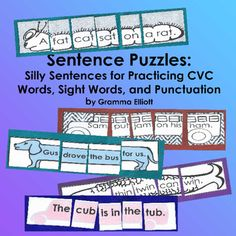 Sentence Puzzles with CVC Rhyming Words Unscramble Silly Sentences in a center or with a tutor. Students practice reading sight words and sentences. These sentences include CVC word families: Un, up, us, ap, am, um, ut, ed, en, at, ad, an, ig, in, og, og, ub, op, ot This product includes 18 sentences in color and the same 18 in BW, AND 6 blank templates for BW sentences and 6 blank color templates for your students or you to construct your own sentences.