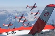 PC-7 Team in 9 or 10 Pilatus PC-7s of  Swiss Air Force.