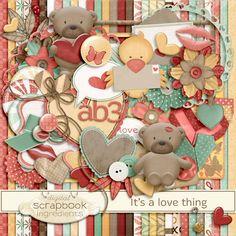 Digital Scrapbook Ingredients-Love Thing scrapbook kit