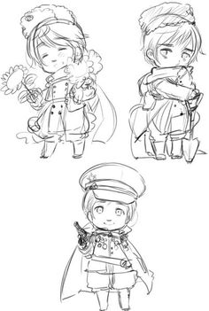 """Axis Powers Hetalia-Another Color! (Commonly reffered to as 2P designs)- Possible 2p desgins for Russia? """"Russia in 2013 sketches titled """"2p4"""" """" """"I couldn't decide whether to pour my efforts into drawing England and France in one of their battle uniforms, or if I should go with something a bit different than usual.""""-Hidekaz Himaruya's blog translation from http://bamboothicket2.livejournal.com/tag/2p"""