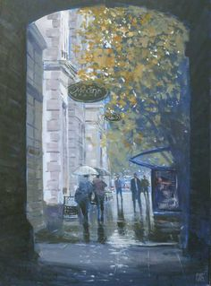 Mike Barr - Rain at the Town Hall Adelaide http://www.pinterest.com/chas50/paintings-i-like/