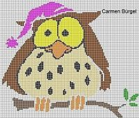 "Cross-stitch Owl in Nightcap... no color chart available, just use the pattern chart as your color guide.. or choose your own colors...    Gallery.ru / irisha-ira - Альбом ""совушки"""