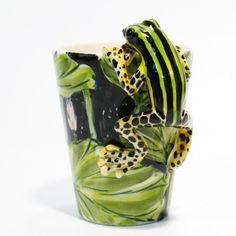 Green Black Stripe Dart Frog Lover Ceramic Cup Mug Home Decor 0001