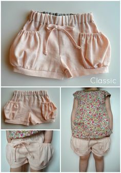Elegance Elephants: Bubble Pocket Shorts Pattern, would be great for those sweet nieces!Elegance & Elephants: Bubble Pocket Shorts Pattern Have been eyeing these shorts for awhile now and really want to make some! Mimic this pattern by using a standa Sewing For Kids, Baby Sewing, Sewing Clothes, Diy Clothes, Shorts With Pockets, Pocket Shorts, Clothing Patterns, Sewing Patterns, Diy Kleidung