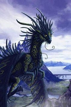 Tribal Black Dragon  #tribal #blackdragon #dragon #dragons #fae #faery #black #fantasy