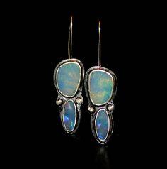 Australian opal earrings  blue opal earrings  natural opal
