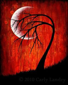 Red sky moon and black tree silhouette painting, LoveArt