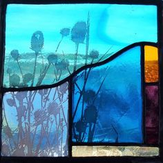 Teasels at Sunrise Contemporary Stained Glass Panel  £90.00