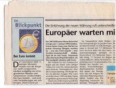der euro kurz vor der einführung