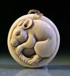 Rat, Japanese Carved Ivory Netsuke Figure, signed