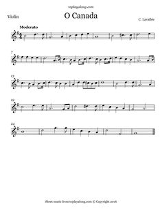 O Canada. Free sheet music for violin. Visit toplayalong.com and get access to hundreds of scores for violin with backing tracks to playalong.