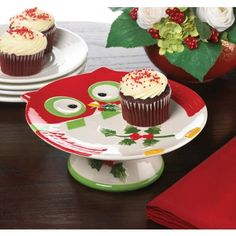 Holiday Hoot Cake Stand $13.50  #homedecor #holdiays #christmasdecor .This cute owl plate would be a great way to bring your desserts to any party at Christmas.