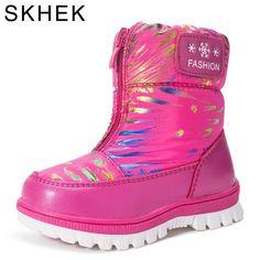 19a0d4f85a9782 SKHEK Kinder Stiefel Baumwolle warme Plüsch für Mädchen Jungen Winter  Stiefel für Mädchen Mädchen Gummi Kinder