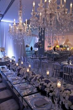 Beautiful wedding decor and amazing chandeliers Ghost Chair Wedding, Wedding Chairs, Reception Decorations, Event Decor, Wedding Centerpieces, Wedding Dinner, Dream Wedding, Wedding Stuff, Small Wedding Receptions