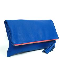 Royal Blue Fold Over Clutch w/Pink Zipper