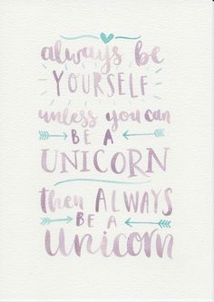 cool Unicorn Quote, Purple Mint Nursery Art, Watercolor Painting, Purple Mint Kids Room, Nursery Print, Kids Room Decor, Be Yourself Quote by http://www.top100-home-decor-pics.club/girl-room-decor/unicorn-quote-purple-mint-nursery-art-watercolor-painting-purple-mint-kids-room-nursery-print-kids-room-decor-be-yourself-quote/