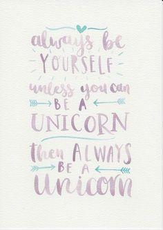 Unicorn Quote, Purple Mint Nursery Art, Watercolor Painting, Purple Mint Kids Room, Nursery Print, Kids Room Decor, Be Yourself Quote by violetandalfie on Etsy
