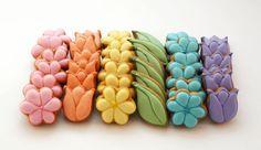 Decorated Cookies -Spring Flowers - Pastels - 3 dozen