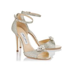 Champagne Glitter Fabric Sandals with Jewelled Clip (7,475 GTQ) ❤ liked on Polyvore featuring shoes, sandals, off white shoes, off white sandals, vintage white shoes, jewel sandals and champagne shoes