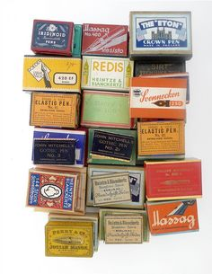 vintage boxes of pen nibs