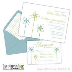 Pinwheels Wedding Invitation  Pocket Fold or Flat by ImpressInk, $4.00