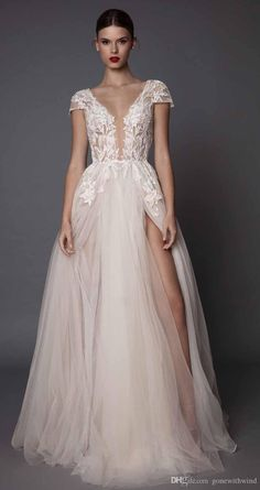 Sexy Side Slit Wedding Dresses 2017 Muse Berta Bridal Cap Sleeves Deep Plunging V Neck Embellished Bodice Lace Tulle Skirt Open Low Back Second Hand Wedding Dresses Short Wedding Dress From Gonewithwind, $502.52| Dhgate.Com