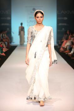 hand appliqued dragonfly detail linen sari