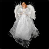 18½-inch-tall silver angel tree topper dressed in a stunning white satin gown overlaid with sheer organza in a delicate silver snowflake pattern - exquisite hand-painted face and honey-colored tresses crafted of resin - arching wings crafted of real feathers - accented with shimmering silver ribbons and holding a large acrylic snowflake in her hand - Bronner's CHRISTmas Wonderland - $44.99